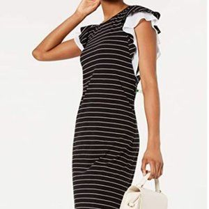 Maison Jules Ruffle Sleeve Striped Sheath Dress